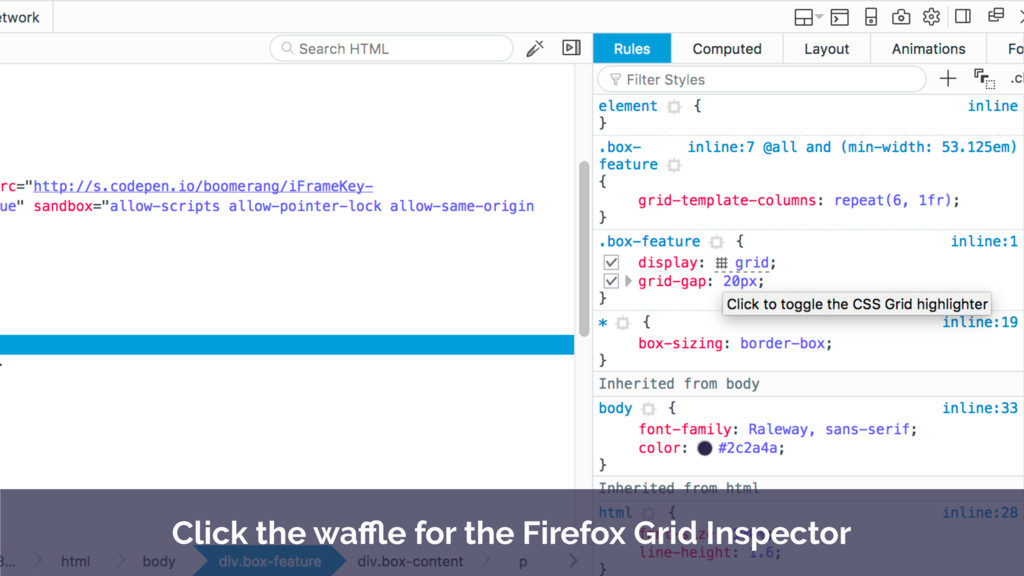 Click the waffle for the Firefox Grid Inspector