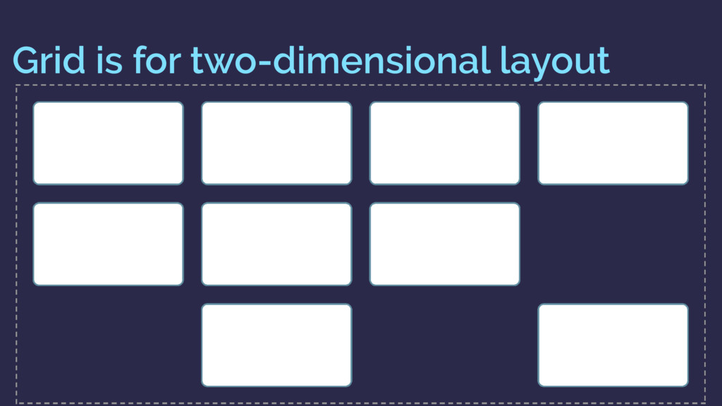 Grid is for two-dimensional layout