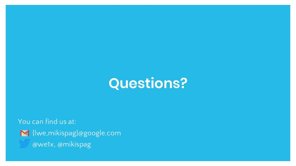 Questions? You can find us at: {lwe,mikispag}@g...