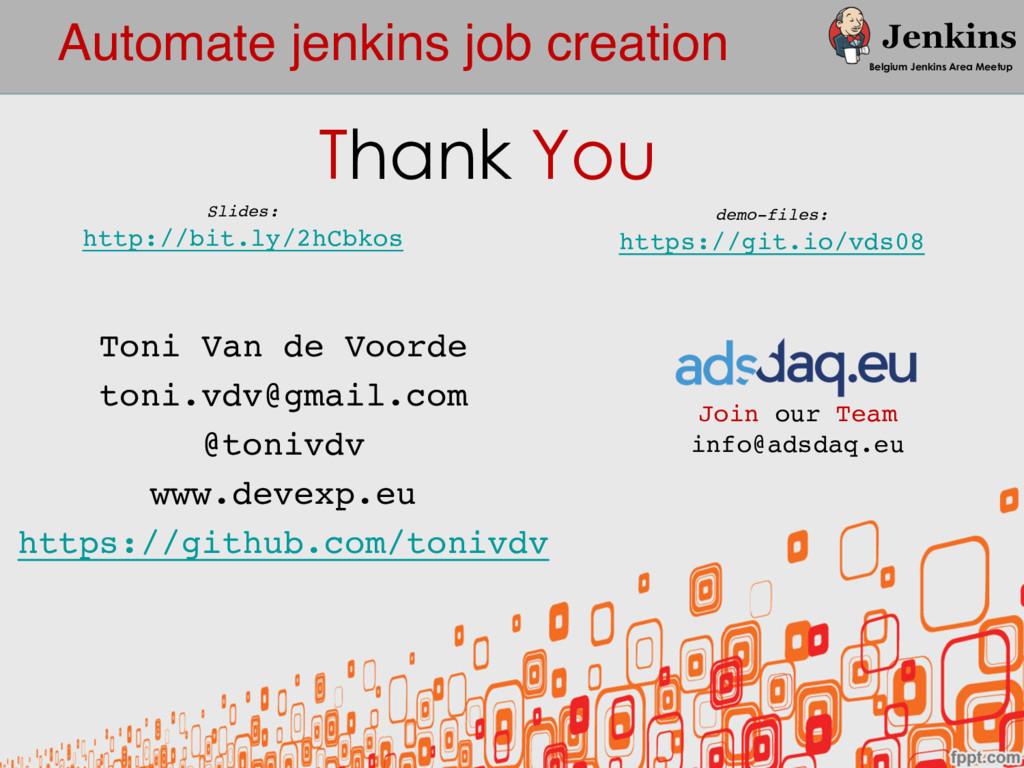 Automate jenkins job creation Belgium Jenkins A...