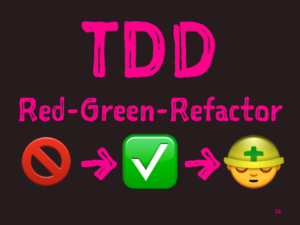 TDD Red-Green-Refactor !→✅→# 22