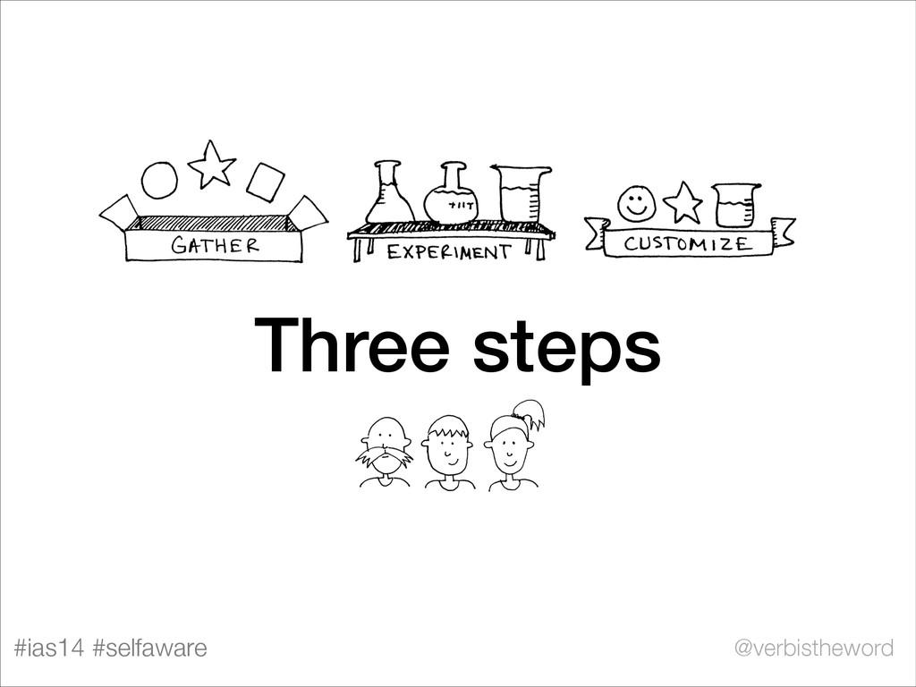 #ias14 #selfaware @verbistheword Three steps