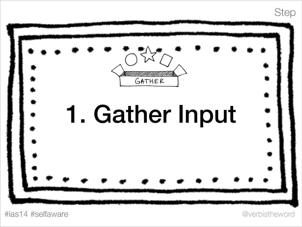 Step #ias14 #selfaware @verbistheword 1. Gather...