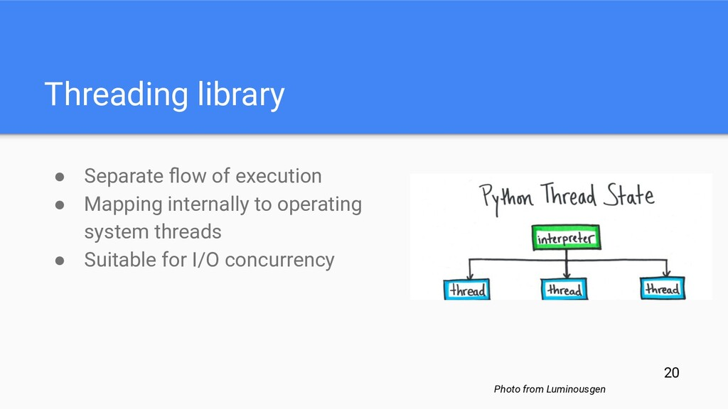 Threading library ● Separate flow of execution ●...