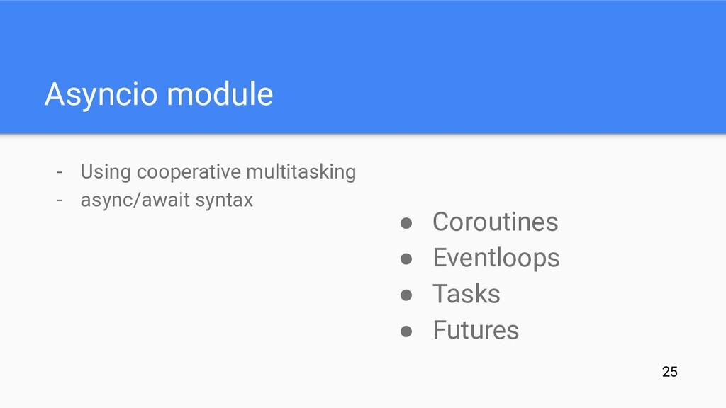 Asyncio module - Using cooperative multitasking...