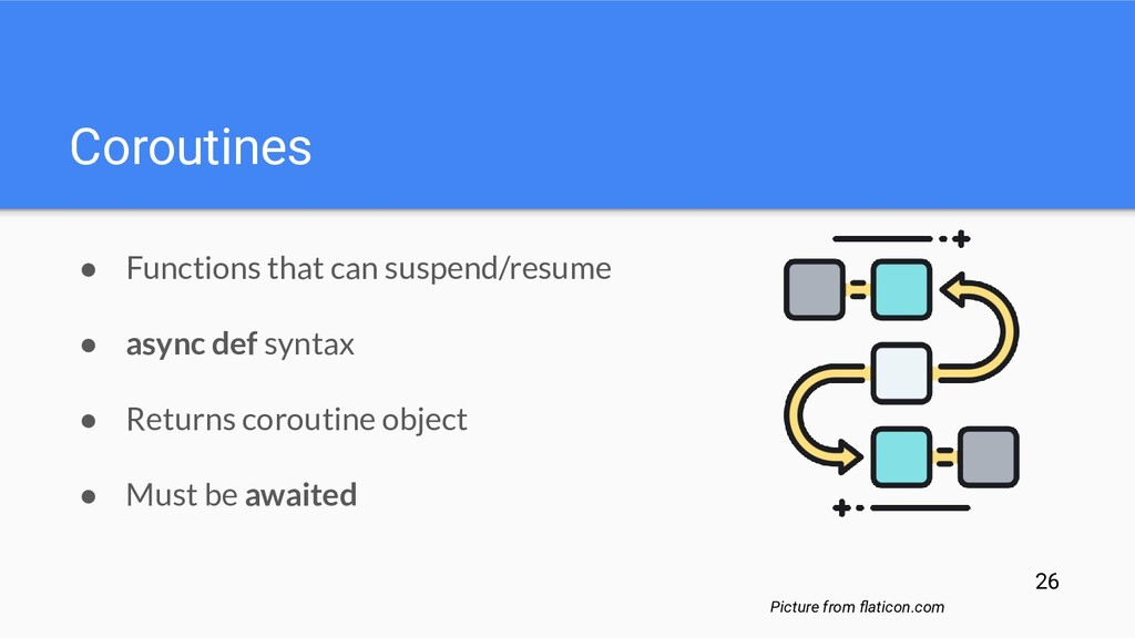Coroutines ● Functions that can suspend/resume ...