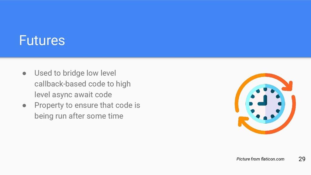 Futures ● Used to bridge low level callback-bas...