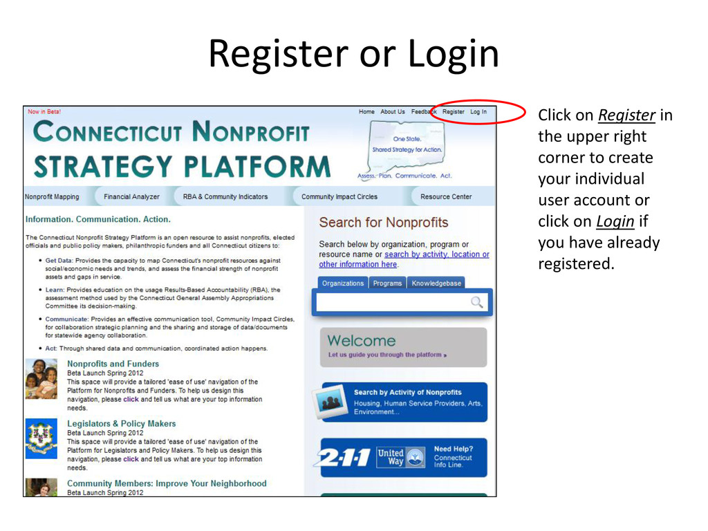 Click on Register in the upper right corner to ...