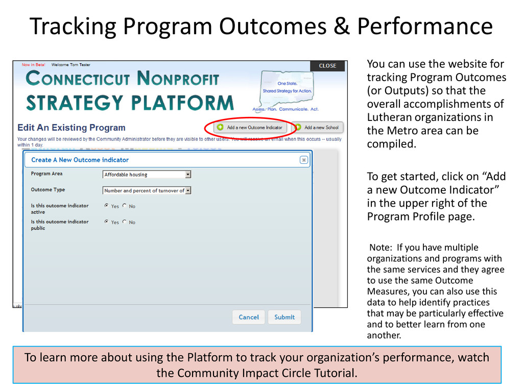 Tracking Program Outcomes & Performance You can...