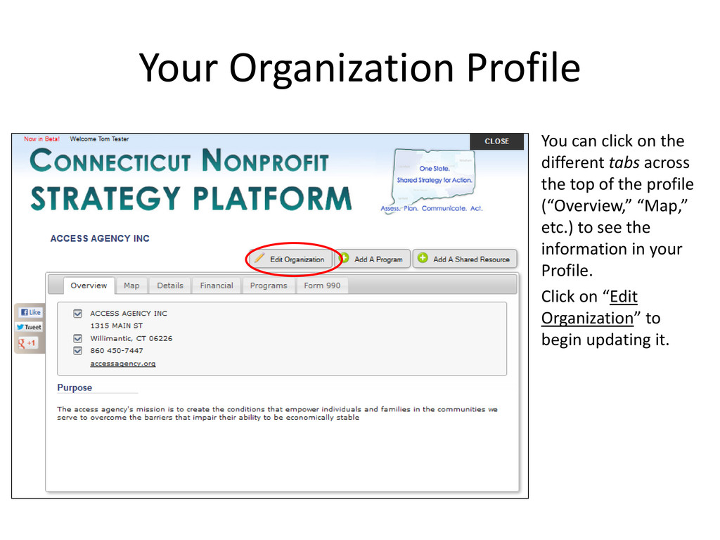 Your Organization Profile You can click on the ...
