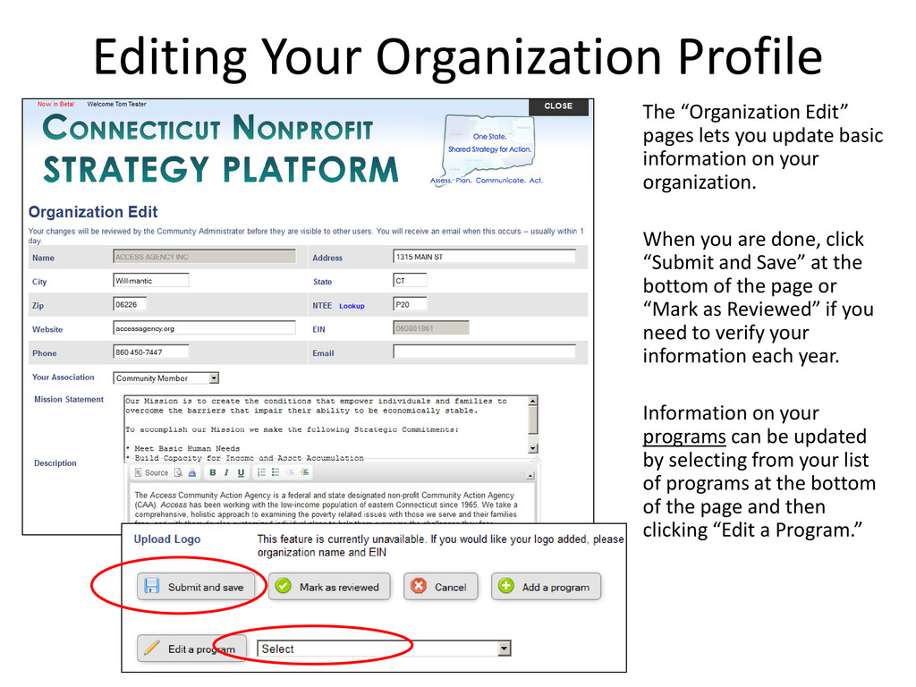 "Editing Your Organization Profile The ""Organiza..."