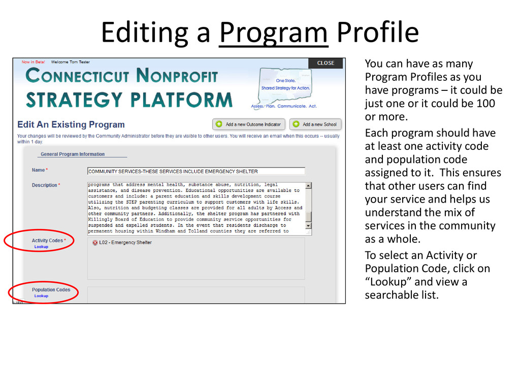 Editing a Program Profile You can have as many ...