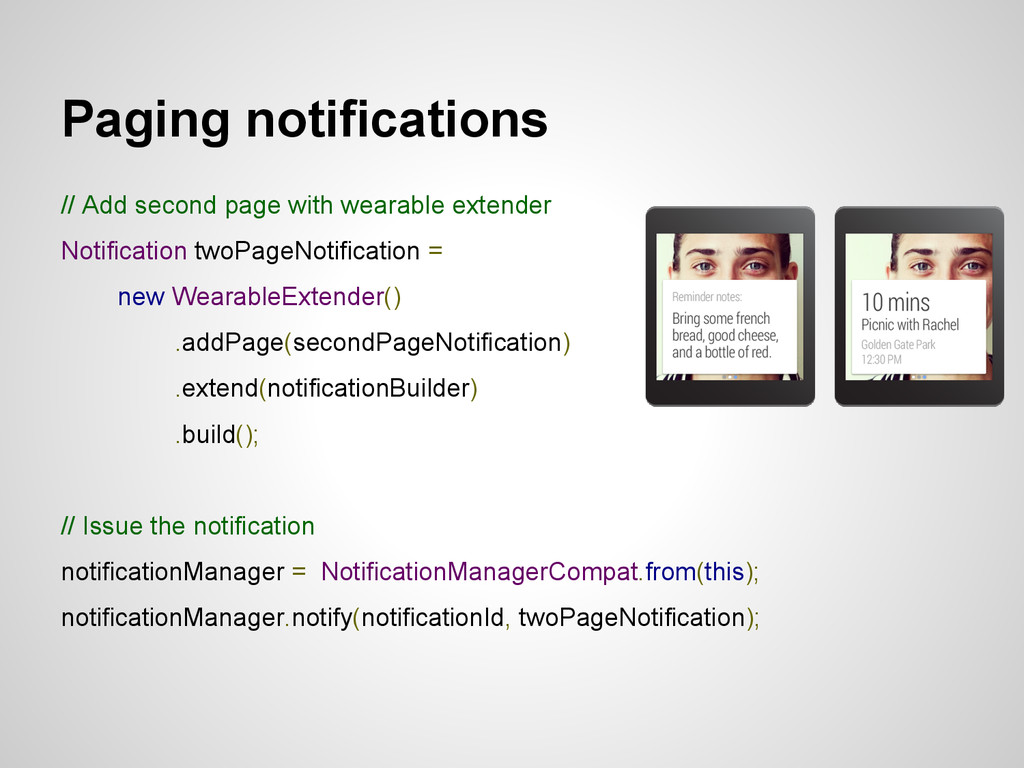Paging notifications // Add second page with we...