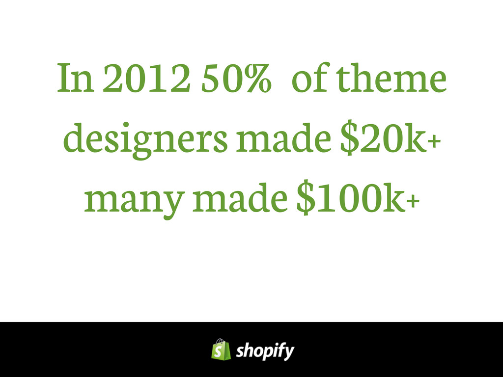 In 2012 50% of theme designers made $20k+ many ...