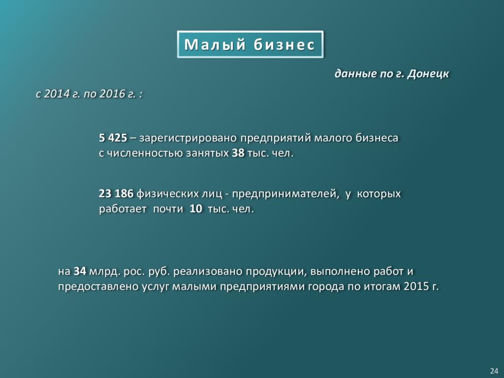 Малый бизнес с 2014 г. по 2016 г. : 5 425 – зар...