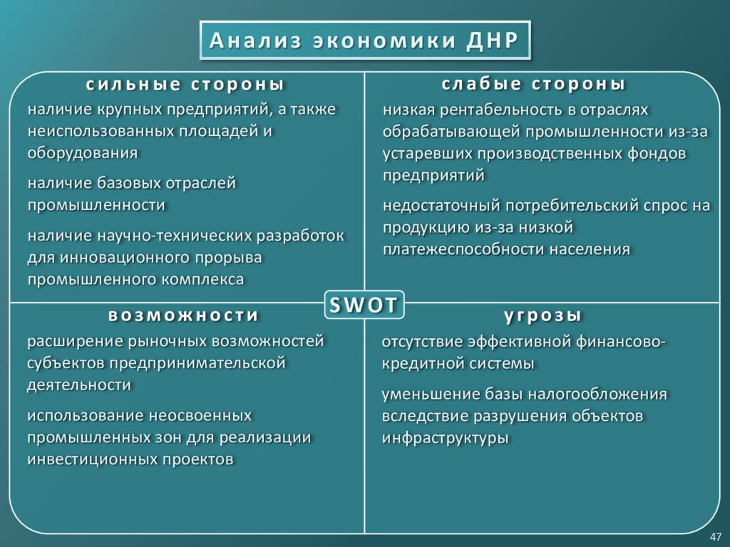 Анализ экономики ДНР 47 SWOT с и л ьн ые с то р...