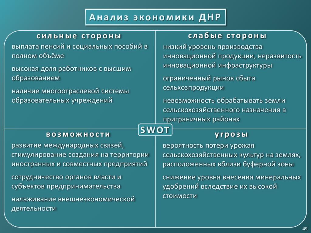 Анализ экономики ДНР 49 SWOT с и л ьн ые с то р...