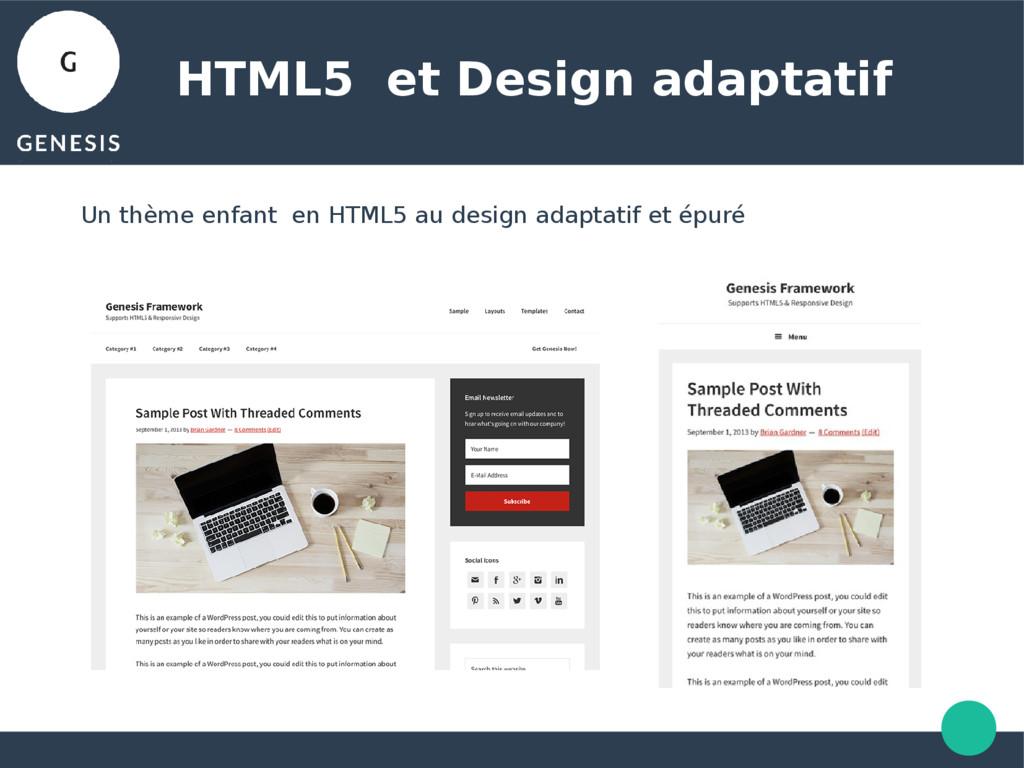 HTML5 et Design adaptatif Un thème enfant en HT...
