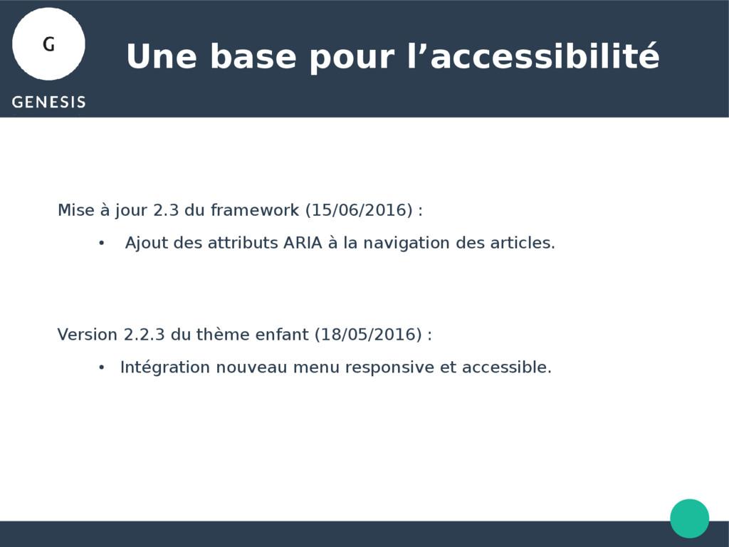 Une base pour l'accessibilité Mise à jour 2.3 d...