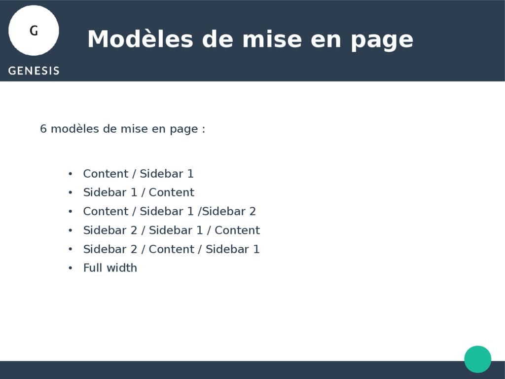 Modèles de mise en page 6 modèles de mise en pa...