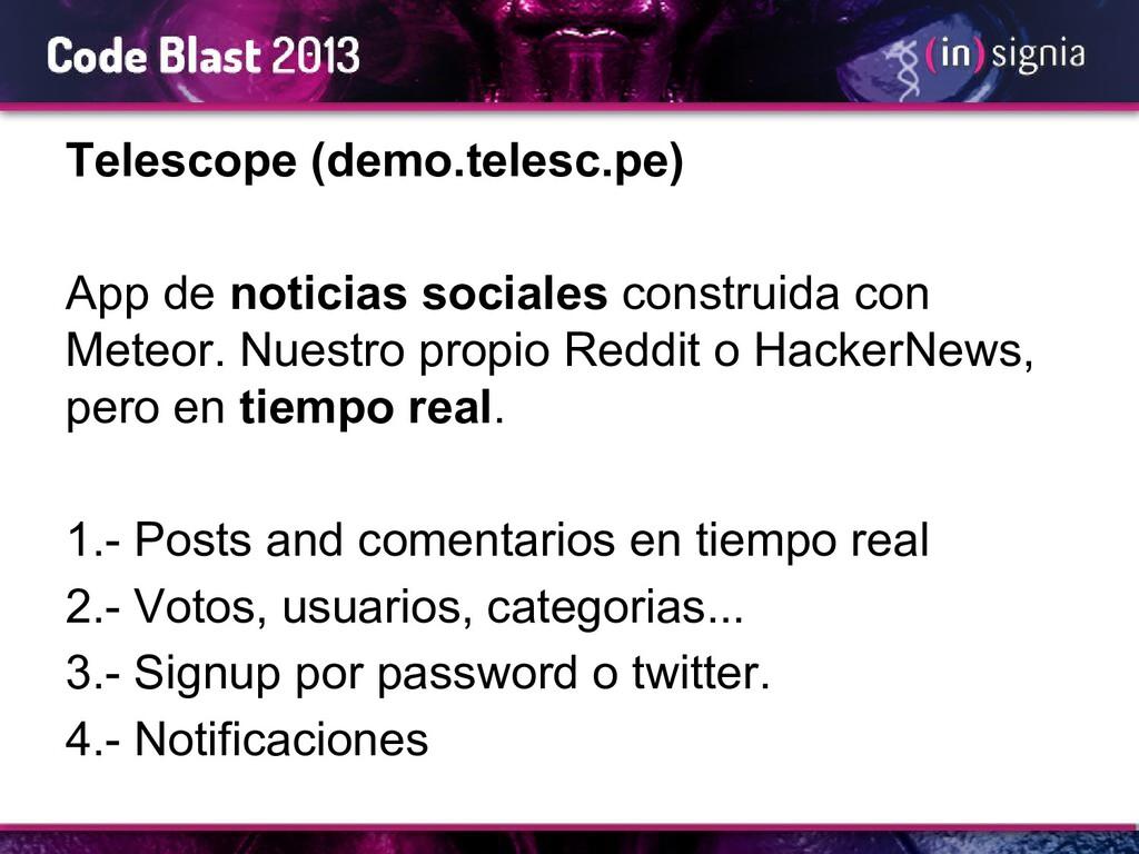 Telescope (demo.telesc.pe) App de noticias soci...