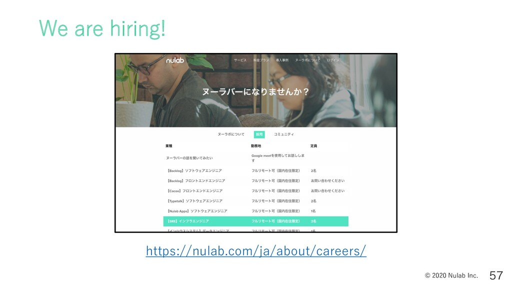 © 2020 Nulab Inc. We are hiring!  https://nul...