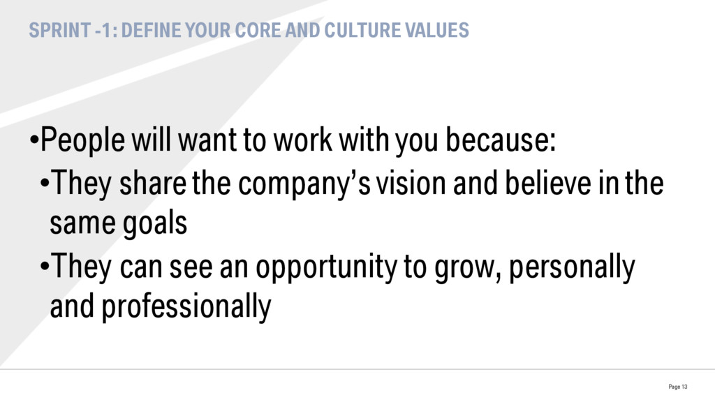 SPRINT -1: DEFINE YOUR CORE AND CULTURE VALUES ...