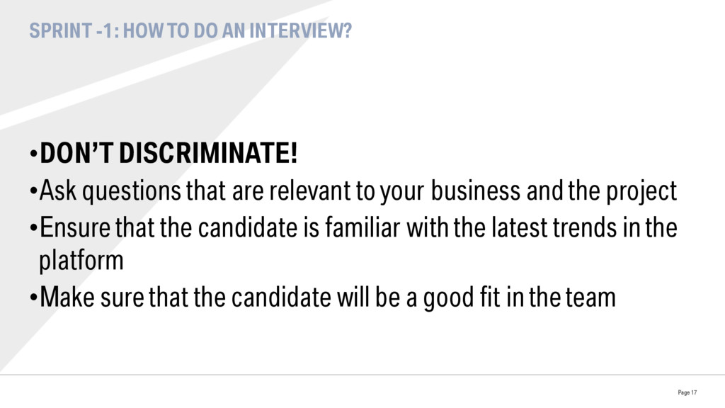 SPRINT -1: HOW TO DO AN INTERVIEW? •DON'T DISC...