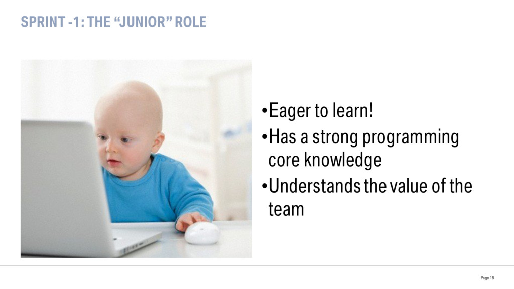 """SPRINT -1: THE """"JUNIOR"""" ROLE •Eager to learn! ..."""