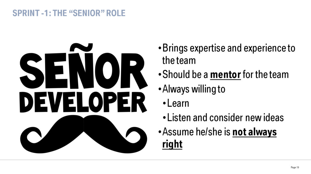 """SPRINT -1: THE """"SENIOR"""" ROLE •Brings expertise..."""