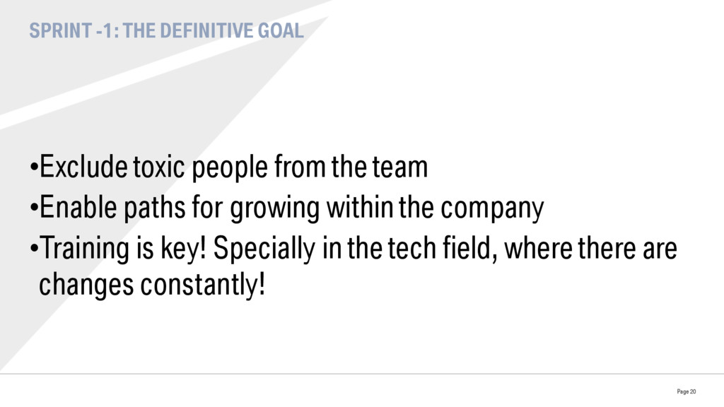SPRINT -1: THE DEFINITIVE GOAL •Exclude toxic ...