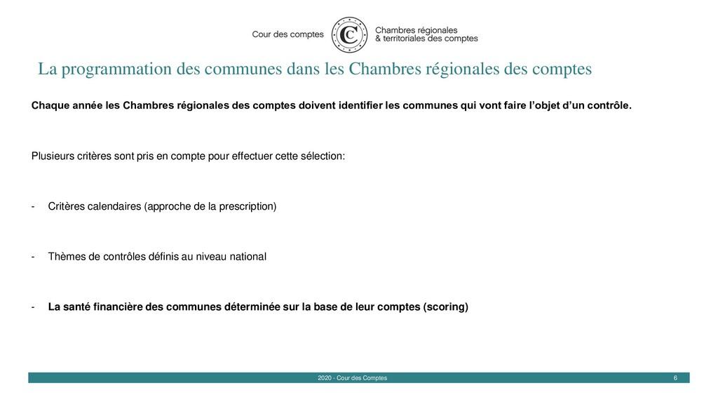 6 2020 - Cour des Comptes La programmation des ...