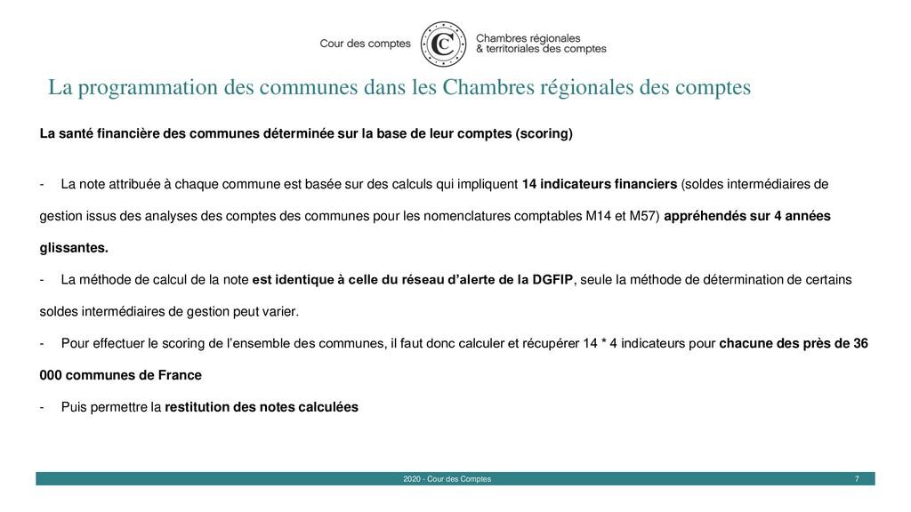 7 2020 - Cour des Comptes La programmation des ...