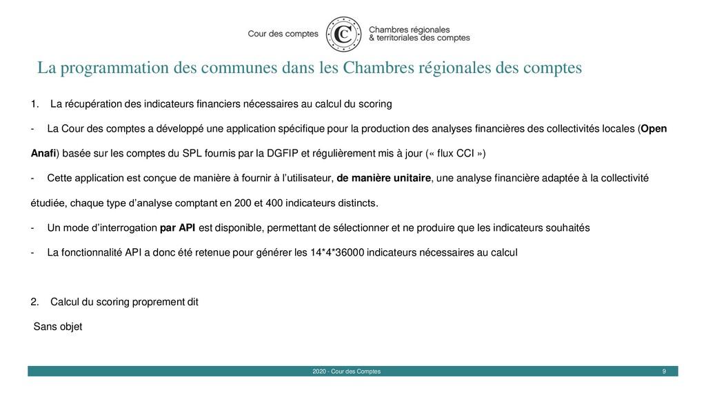 9 2020 - Cour des Comptes La programmation des ...