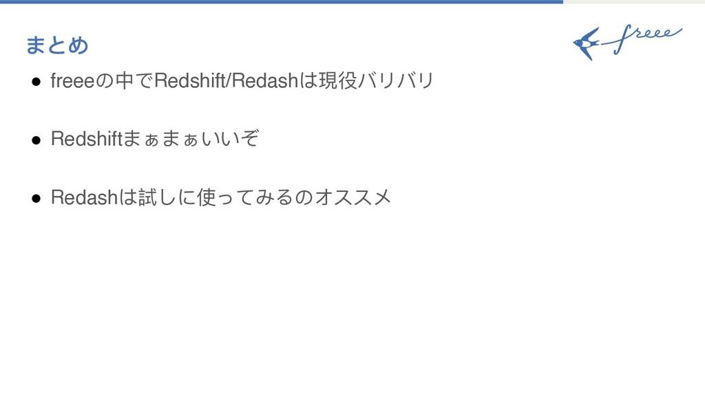 まとめ ● freeeの中でRedshift/Redashは現役バリバリ ● Redshift...