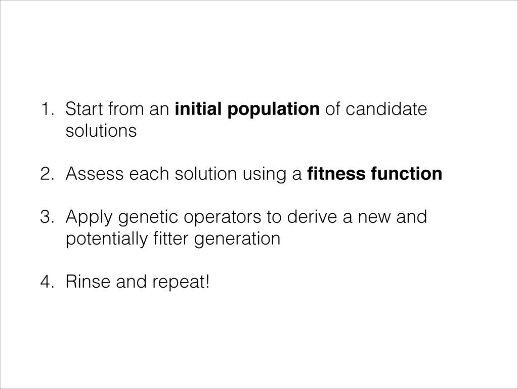 1. Start from an initial population of candidat...
