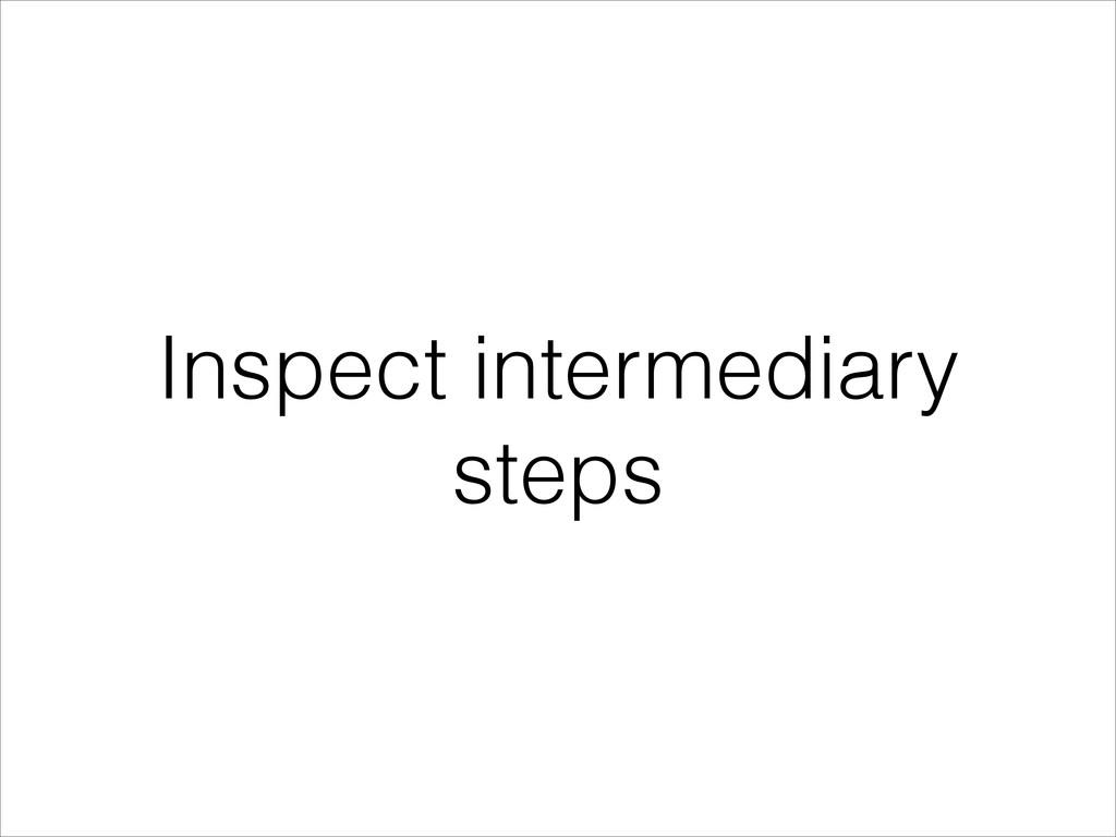 Inspect intermediary steps