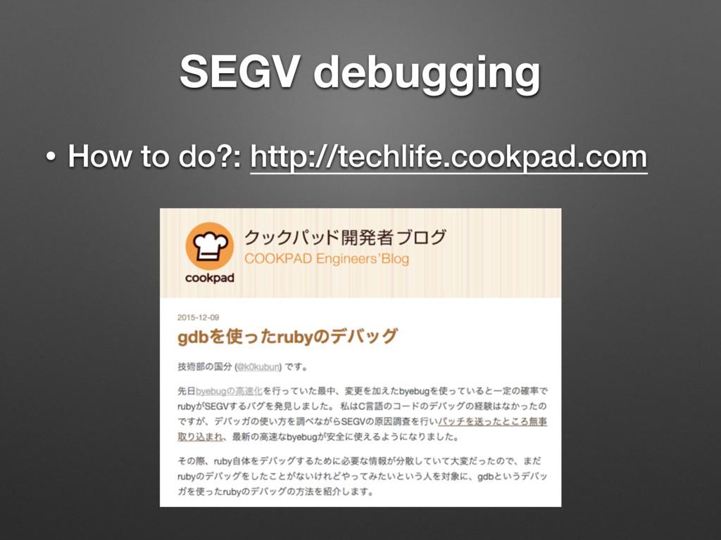 SEGV debugging • How to do?: http://techlife.co...