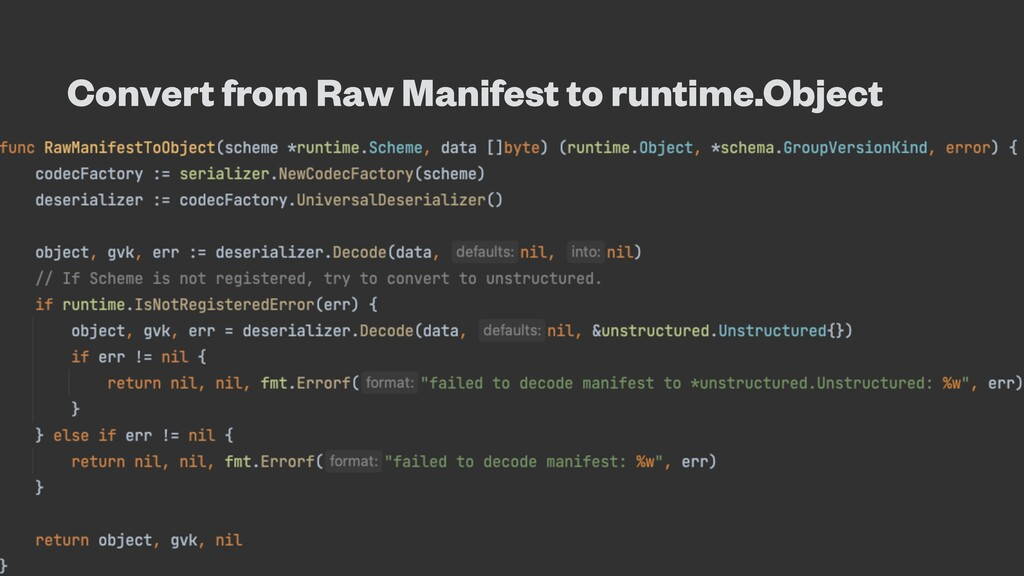 Convert from Raw Manifest to runtime.Object