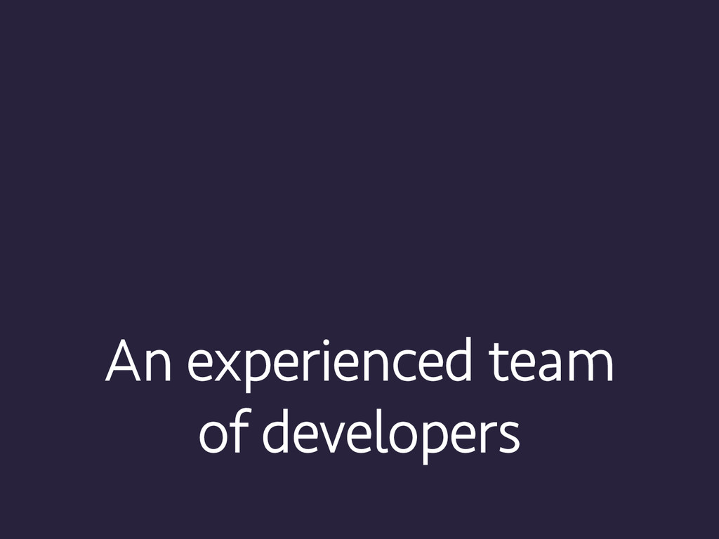 An experienced team of developers