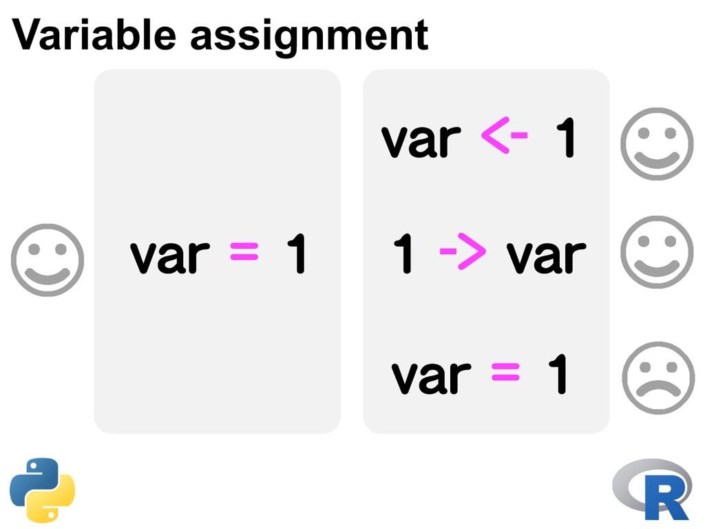 var = 1 Variable assignment var <- 1 1 -> var v...