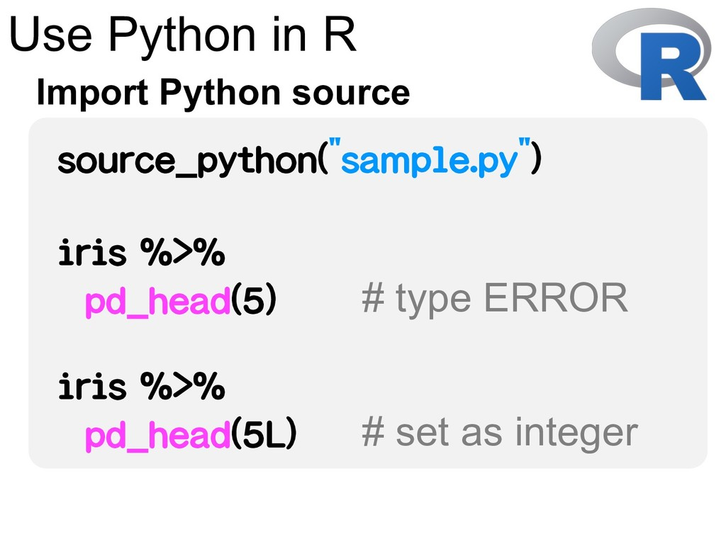 Use Python in R Import Python source source_pyt...