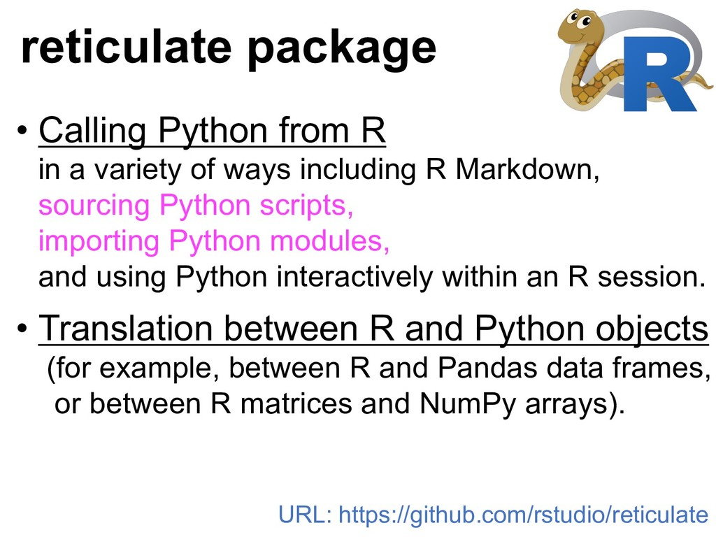 • Calling Python from R in a variety of ways in...