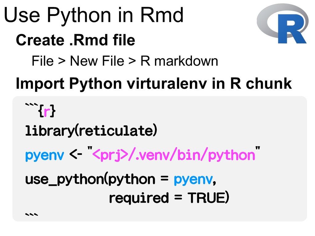 Use Python in Rmd File > New File > R markdown ...