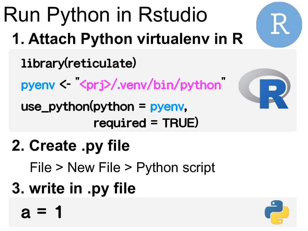 Run Python in Rstudio library(reticulate) pyenv...