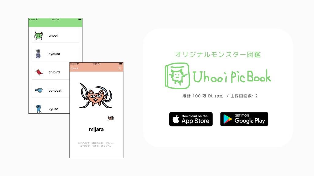 オリジナルモンスター図鑑 累計 100 万 DL (予定) / 主要画面数: 2