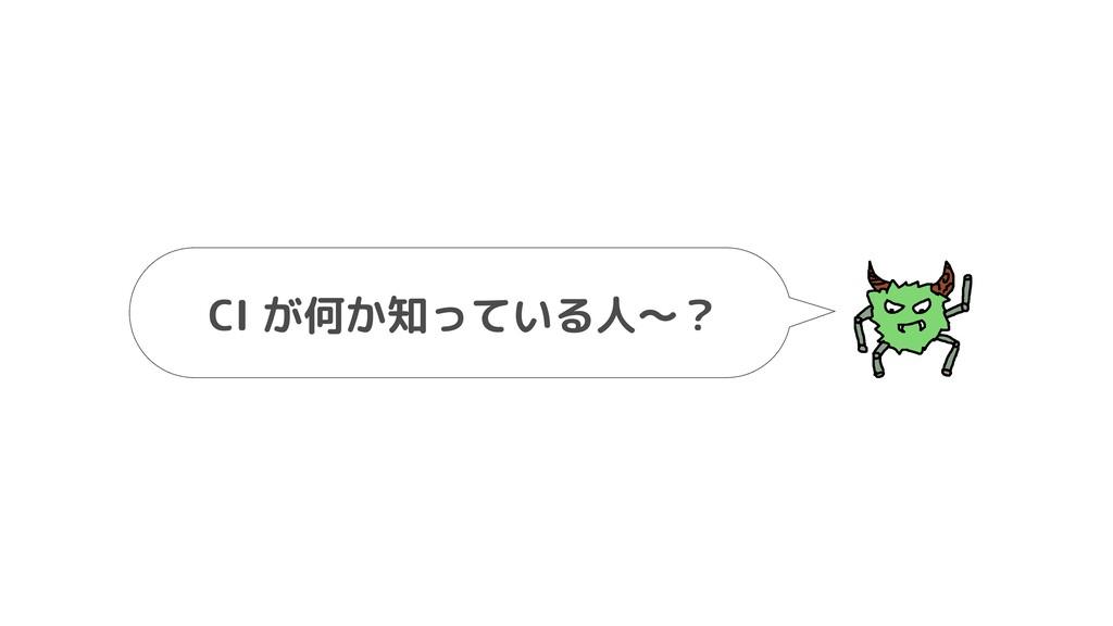 CI が何か知っている人〜?️