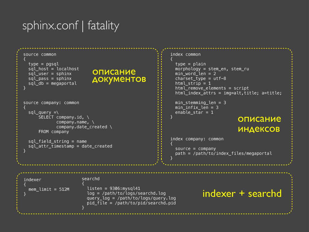sphinx.conf | fatality source common { type = p...