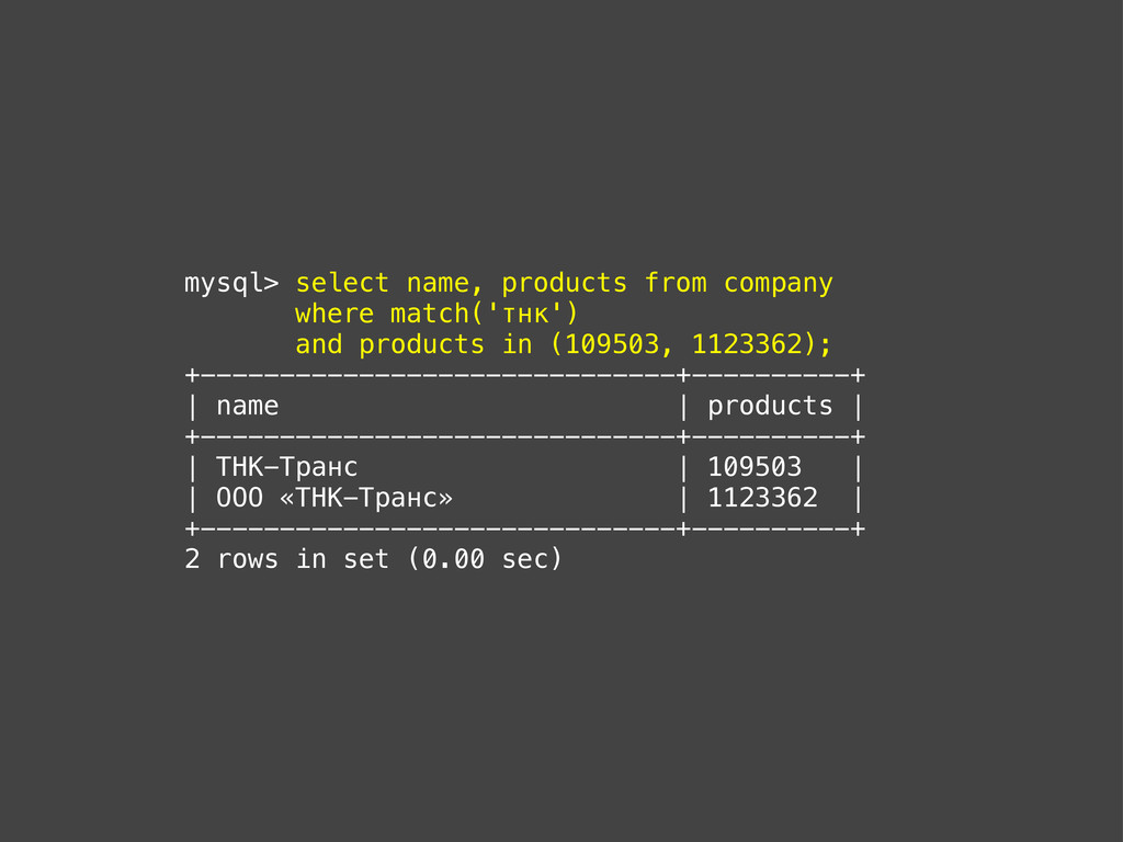 mysql> select name, products from company where...