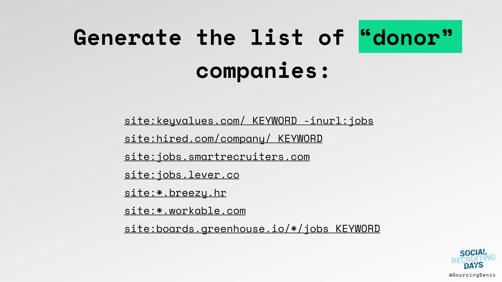 """@SourcingDenis Generate the list of """"donor"""" com..."""